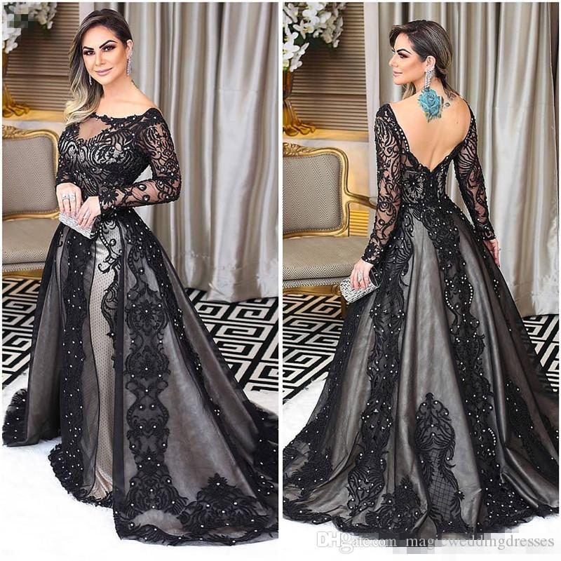 Amazing Long Sleeve Prom Dresses Bateau Neck Beads Lace Applique Backless Mermaid Evening Gowns Charming Arabia Celebrity Dress Party Gowns