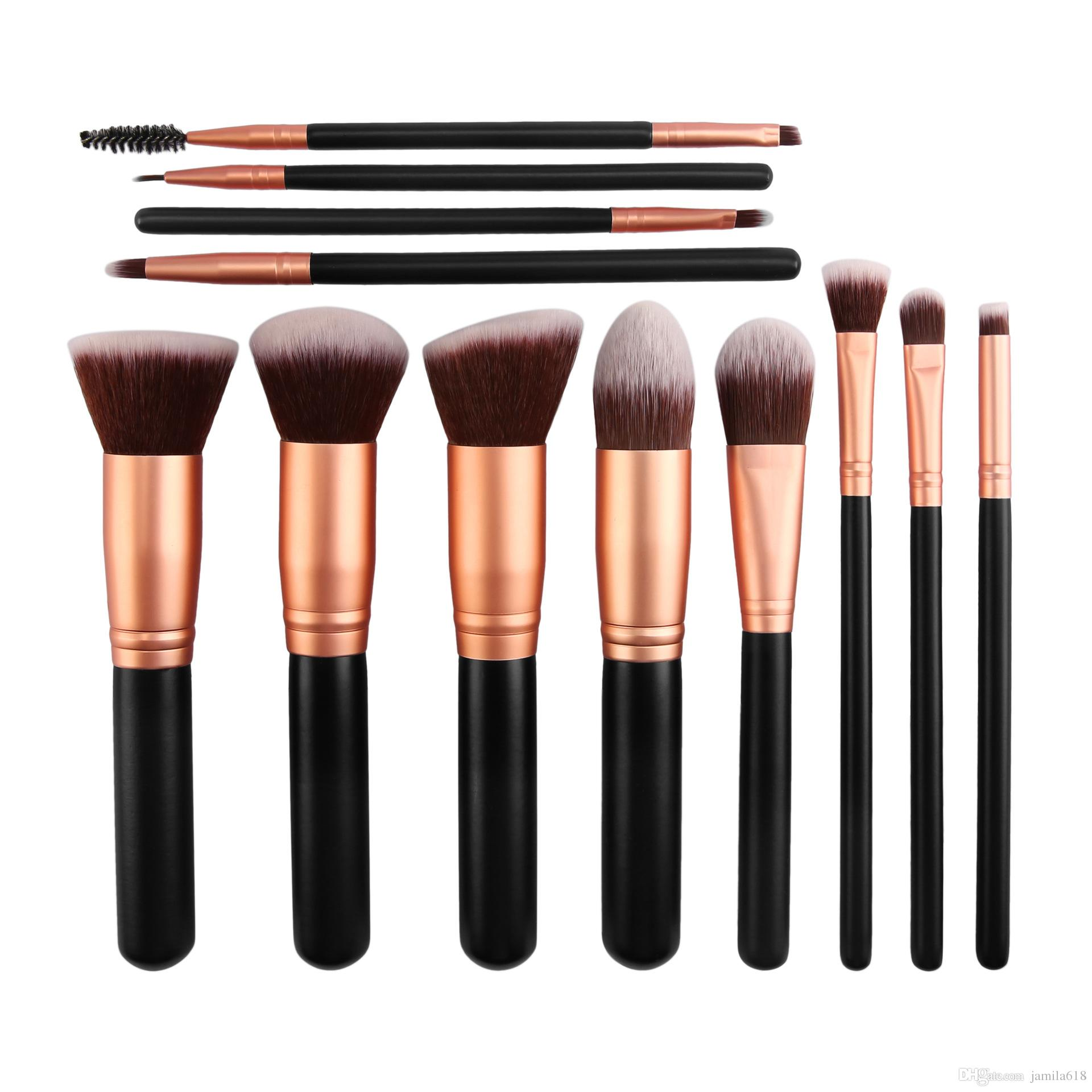 12Pcs Multi-funzionale professionale manico in legno pennelli trucco Set Cosmetic Foundation Blush Eye Shadow Blending Make up Brushes Tool