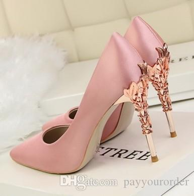 pink silk new style metal heel sexy pointed toe pump 10cm heel women dress shoes bride shoes 487