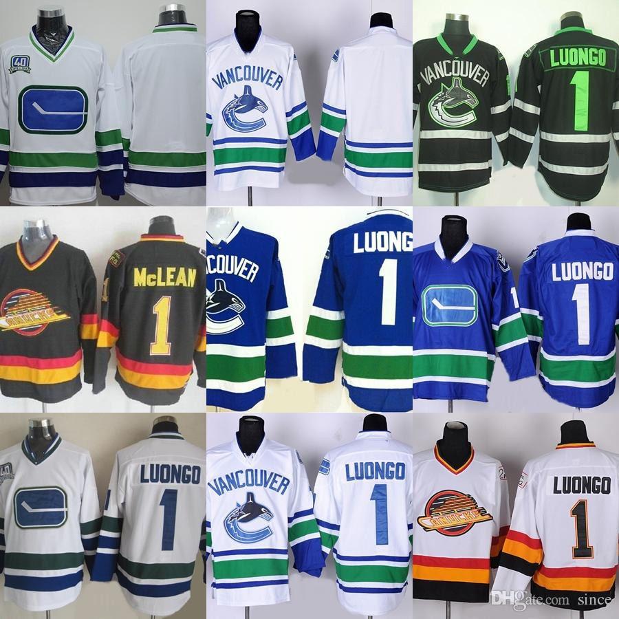 Фабрика Outlet мужская Ванкувер Кэнакс #1 Луонго #1 McLean # пустой синий белый зеленый красный новые горячие продажи лучшие хоккейные майки бесплатная доставка