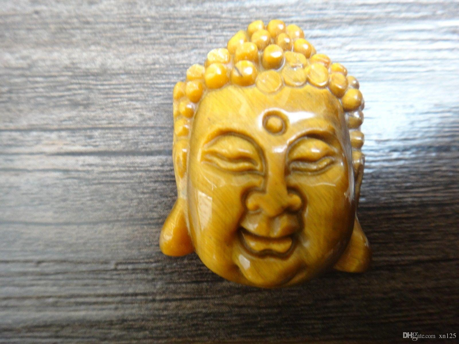 Natural Yellow Tiger Eye Pendant Sakyamuni Buddha head amulet