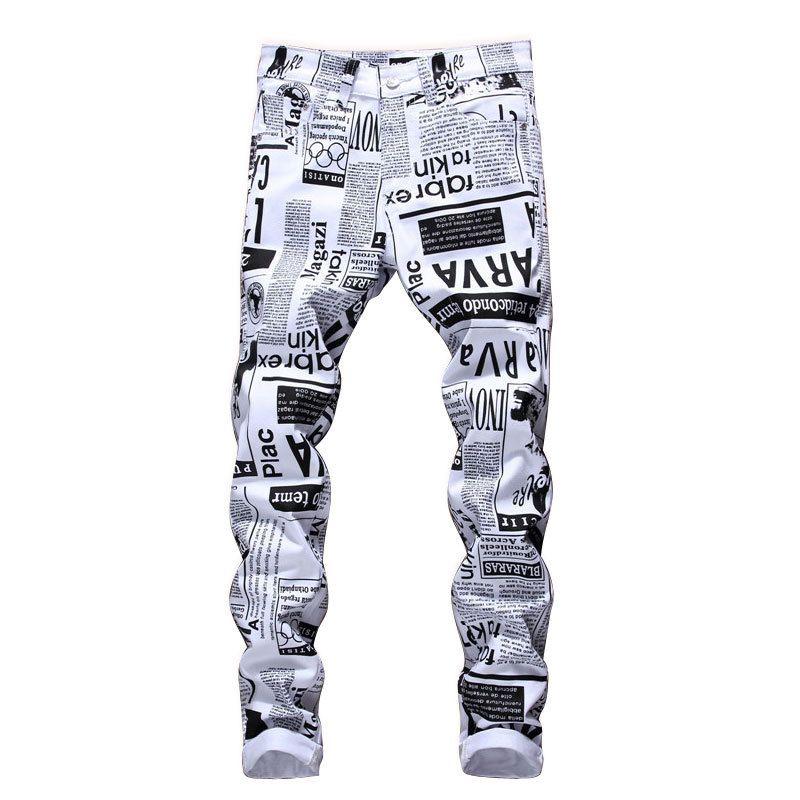 Mens Designer Pencil Jeans letra impressa White Denim Pants Moda Roupa Clube Masculino frete grátis Hip Hop Skinny Jeans