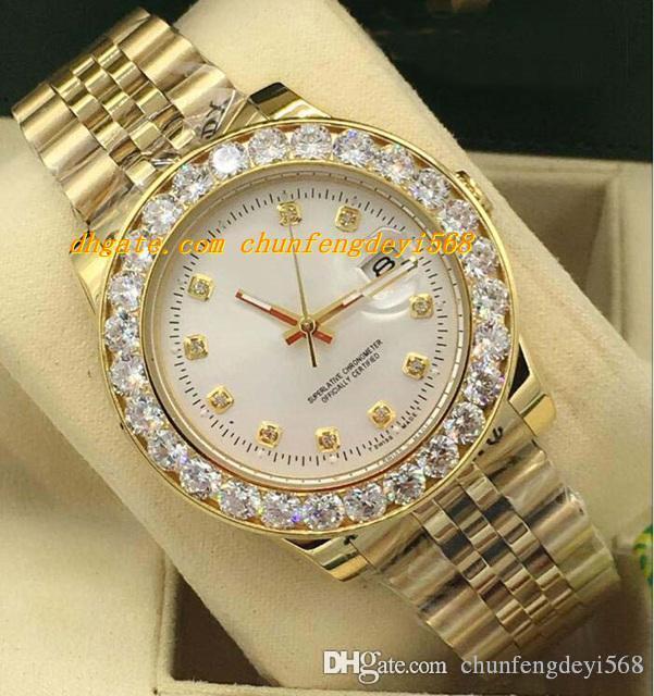 2019 럭셔리 시계 6 스타일 큰 다이아몬드 베젤 다이아몬드 다이얼 망 116238 40mm 자동 패션 브랜드 남자 시계 손목 시계