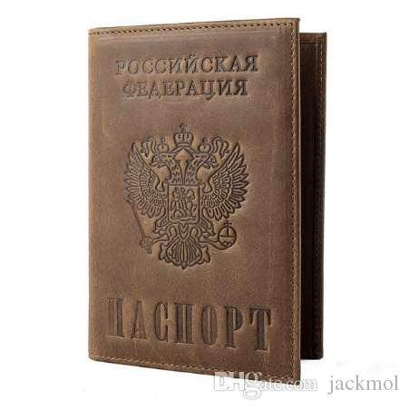Vintage Crazy Horse Leather Passport Holders Genuine Leather Passport Covers RFID Travel Document Cover Credit Card Holder 589