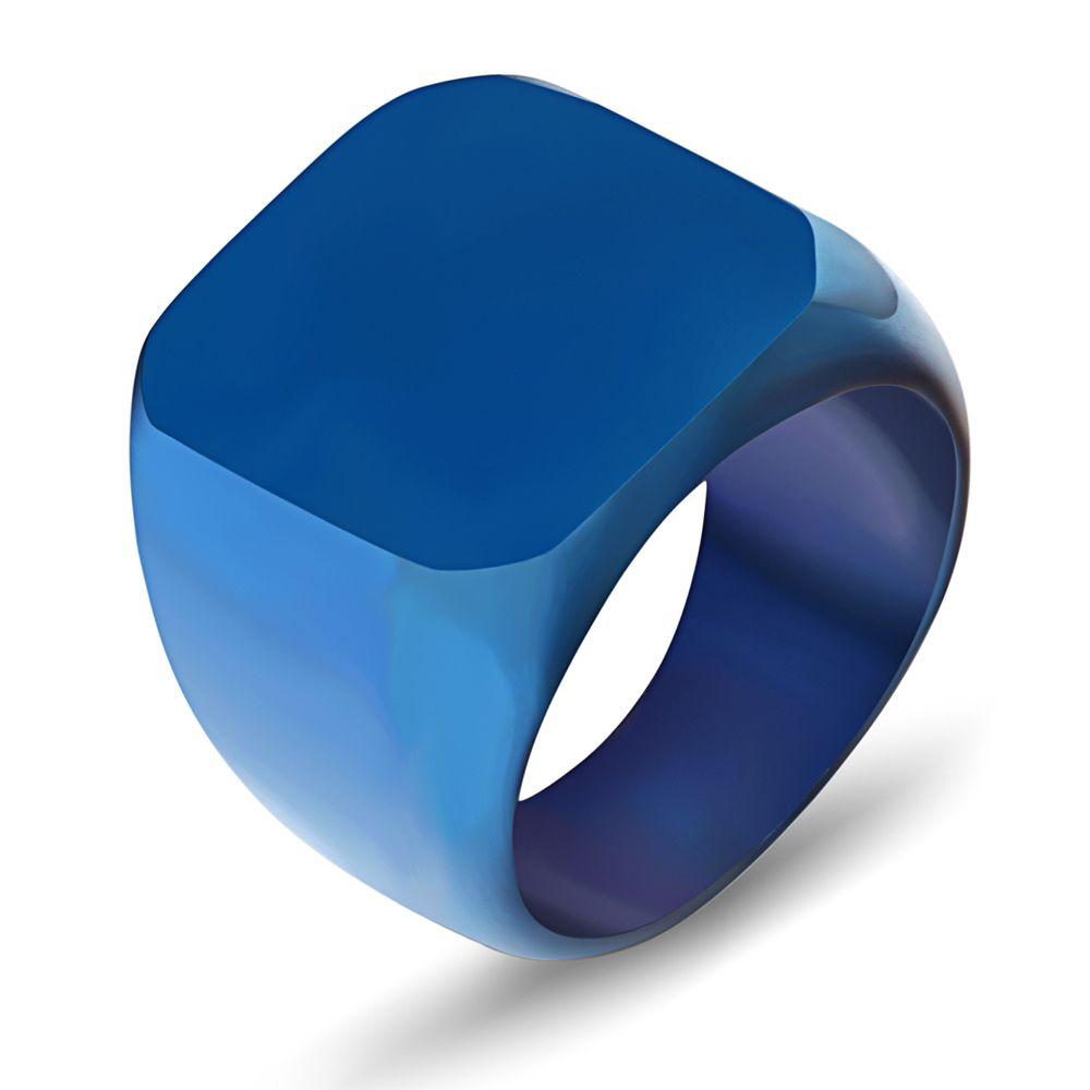 Anelli da uomo Hip Hop, Auniquestyle New Fashion Square Big Widet Signet acciaio al titanio uomini gioielli anello