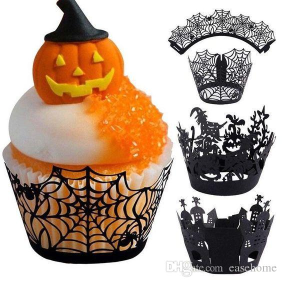 Party Supplies Cupcake Wrapper for Halloween decorations 12pcs/set in 4 patterns for kids Trick or treat