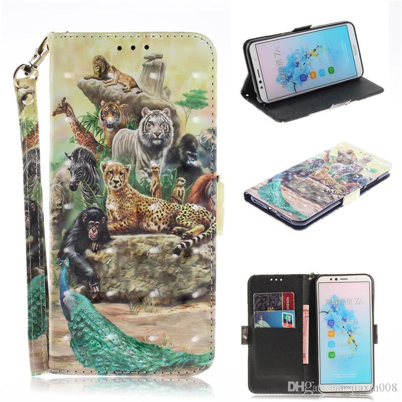 Huawei honor 7a için flip kapak telefonu çanta / y6 2018 case 3d boyama pu deri yumuşak silikon cüzdan durumlarda kapakları coque
