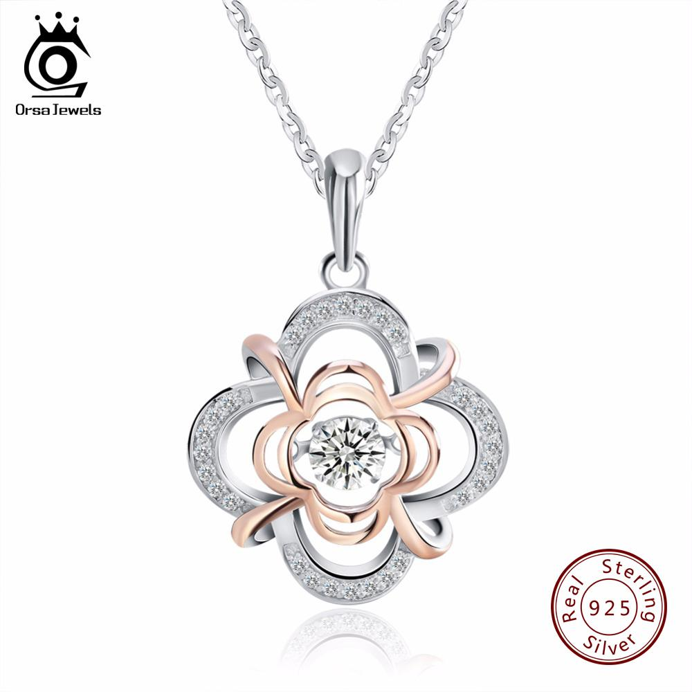 ORSA JEWELS Hakiki 925 Gümüş Sevimli Çiçek Kolye Kolye ile karışık Gül Altın Renk Hareketli 0.3 ct Kristal Kadınlar için SN14