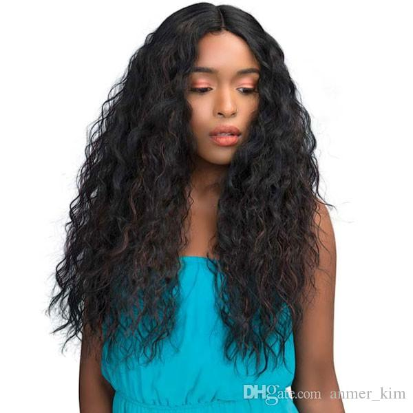 100% unprocessed aaaaaa virgin pure remy human hair long natural color kinky curly full lace cap wig for girl
