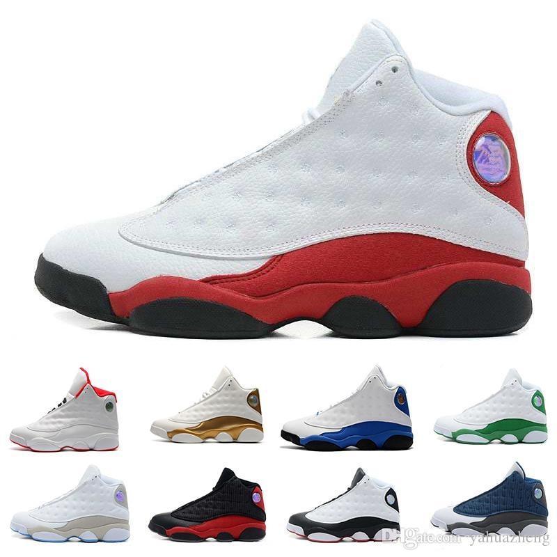 2018 Zapatos de baloncesto para hombre nike Jordan Jordans air jordan jordans retro Retro 13 Bred Black True Red History Of Flight DMP Descuento Sports Shoe Mujeres Zapatillas 13s Black Cat