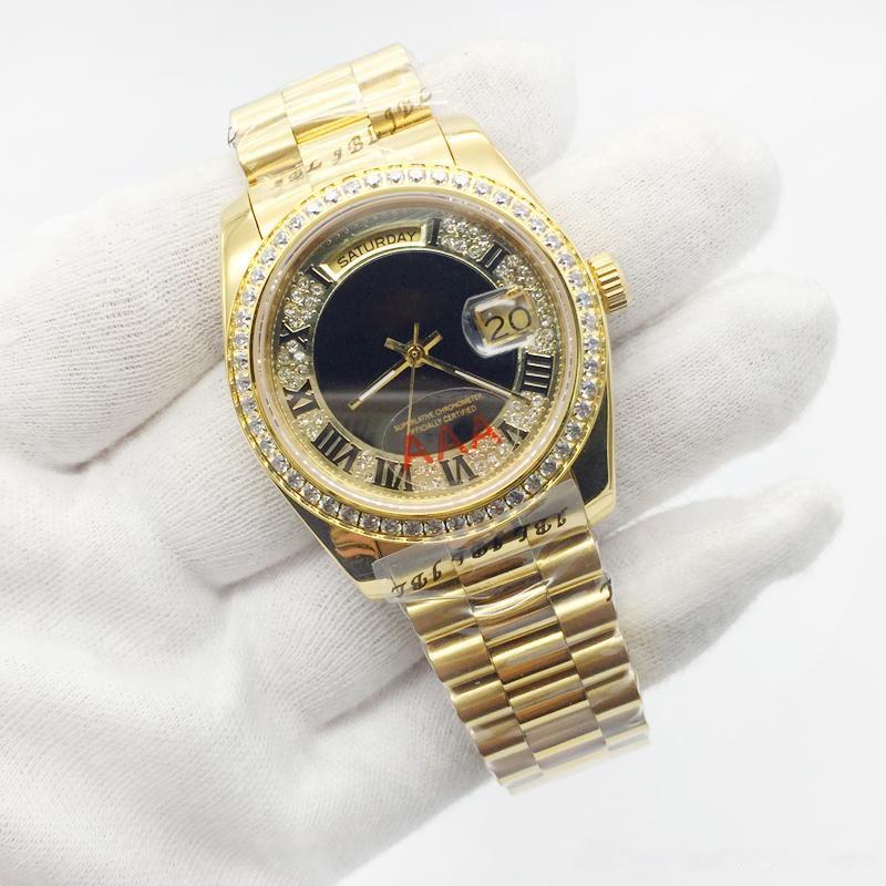2019 رجالي الرياضة ووتش DYYDATE 228206 سلسلة 36MM الذهب الروماني الكبير الماس الأرقام الاتصال الهاتفي الياقوت زجاج حركة الساعات