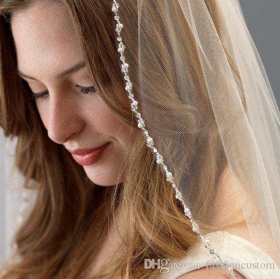 Sall White Ivory Champagne Velo da sposa Perle Punta delle dita Lunghezza uno strato Velo da sposa Bordo in rilievo con pettine sg11