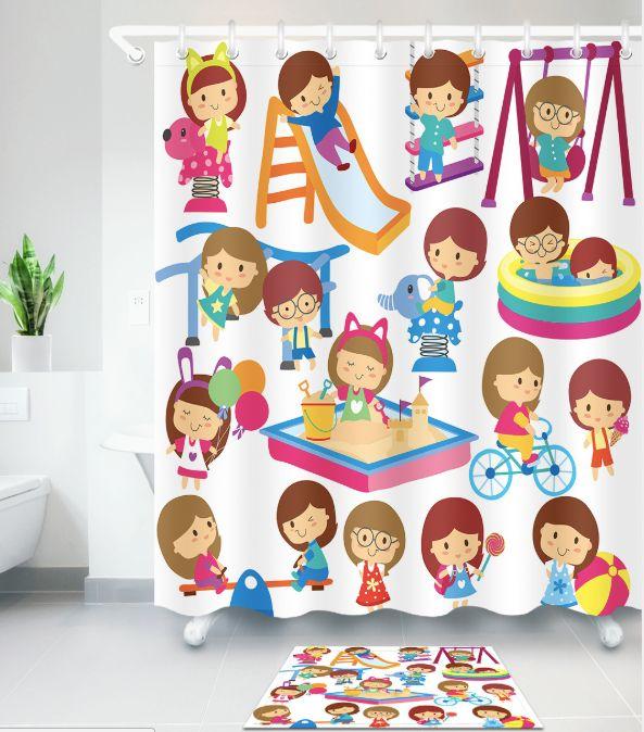 3D the cartoon style Design Print Pattern Irish Decorations Waterproof Bathroom Decor Fabric Shower Curtains Floor mats sets