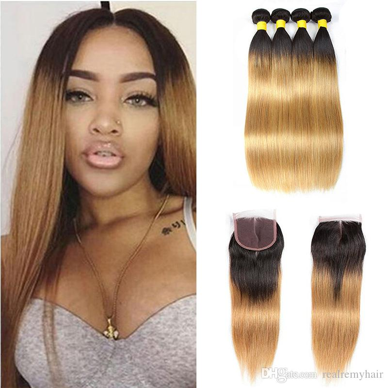Brazilian Straight Ombre Human Hair Weave Bundles with Lace Closure Two Tone 1B/27# Brazilian Blonde Virgin Hair Extensions With Closure