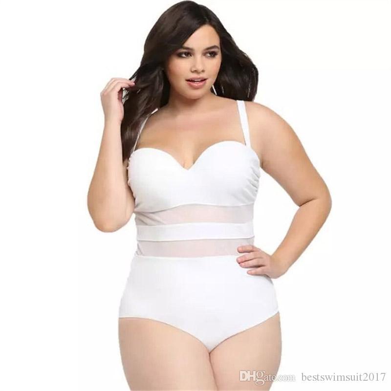 2018 Sexy Black White One Piece Swimsuit Puxe acolchoado malha Swimwear Plus Size Mulheres Monokini Bodysuit Praia fatos de banho Wear banho XL-4XL