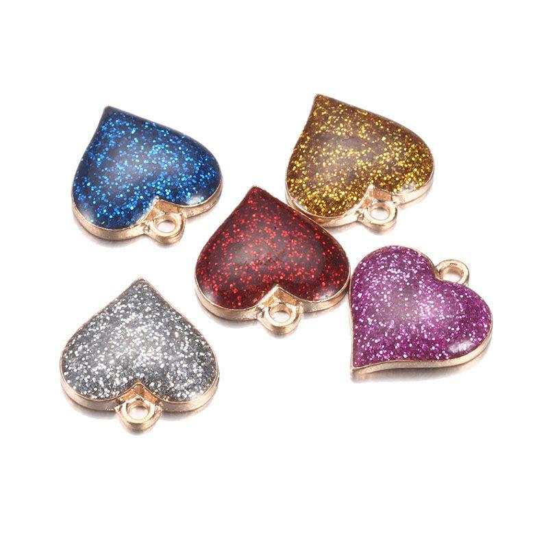 En gros coloré charmes de coeur spécial pour bricolage bijoux Bling Bling pendentif plaqué paillettes accessirues pour enfants cadeau de Noël