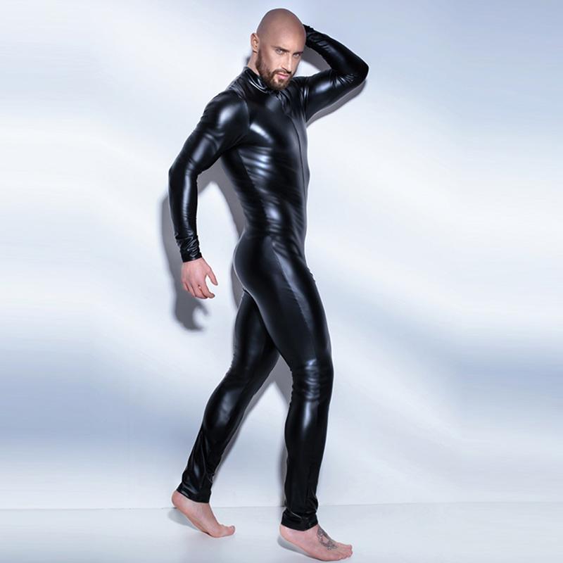 Fullbody Zentai Catsuit Nero Uomo Wetlook per uomini Solo un pezzo di pelle verniciata Body Zipper perfermance Costume Plus Size 4XL