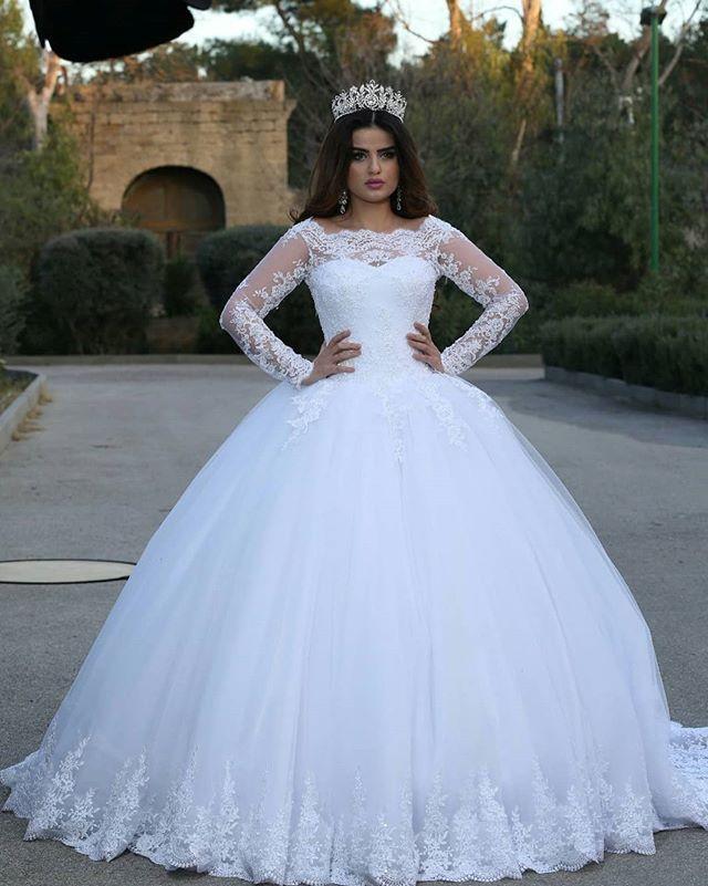 Vestido de fiesta blanco de encaje vestidos de novia mangas princesa vestidos de novia 2019 recién apliques vestidos de noiva princesa
