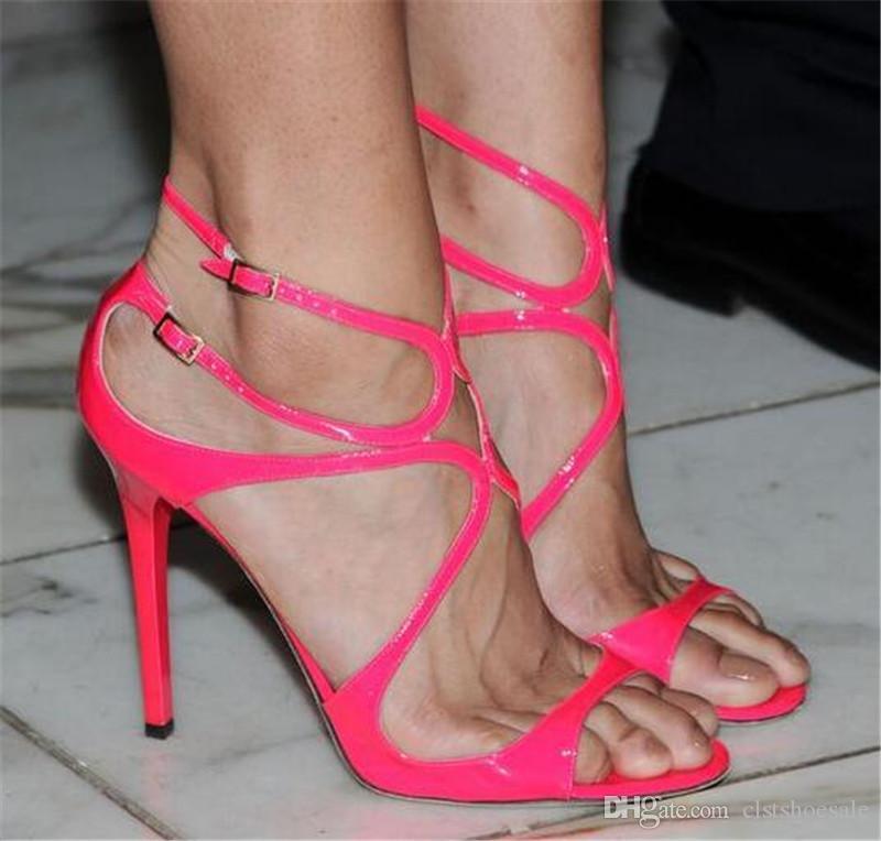 Kadınlar Marka Tasarım Açık Toe Sapanlar Çapraz Ince Topuk Gladyatör Sandalet Şeker Renk Rugan Turuncu Altın Çıplak Yüksek Topuk Sandalet