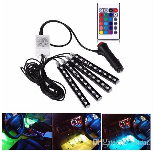 4Pcs 12V 자동차 RGB LED DRL 스트립 빛 5050SMD 자동차 자동 원격 제어 장식 유연한 LED 스트립 분위기 램프 키트 안개 램프