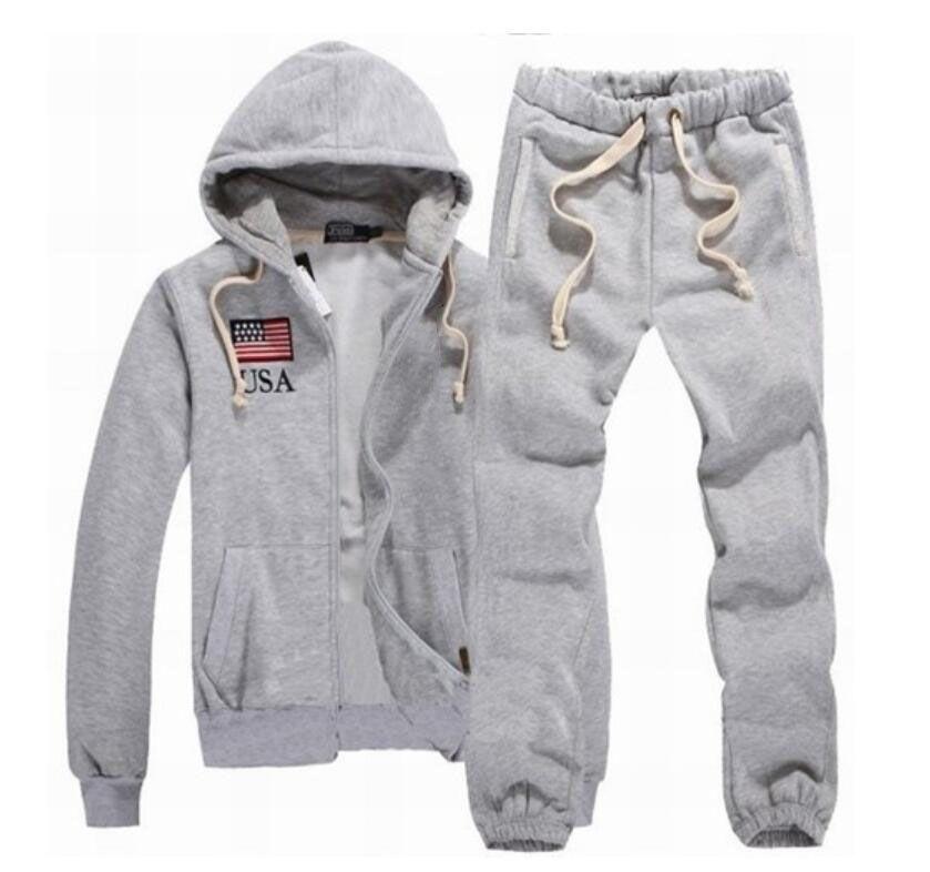 Terno do homem de Moda Sporting Outono Hoodies + Sweatpants New alta qualidade masculina Roupa 2pcs Define Magro Treino