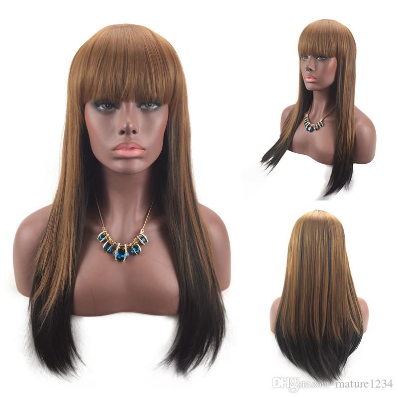 Новые Женские Длинные Ломбер Черный Коричневый Парик Натуральных Волос Прямой Парик Для Черных Женщин Парик Синтетические Волосы Афро Wgs