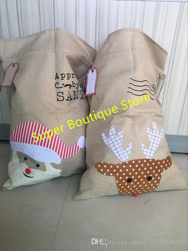 2017 burlap santa sack 2 styles Christmas candy gift bag Hot Sale Monogram Different Types of Burlap Wholesale Santa Sacks