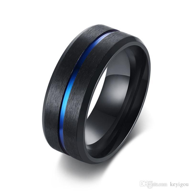 8mm casuais homens negros anel azul linha de aço inoxidável masculino banda de casamento conforto desgaste cavalheiros jóias