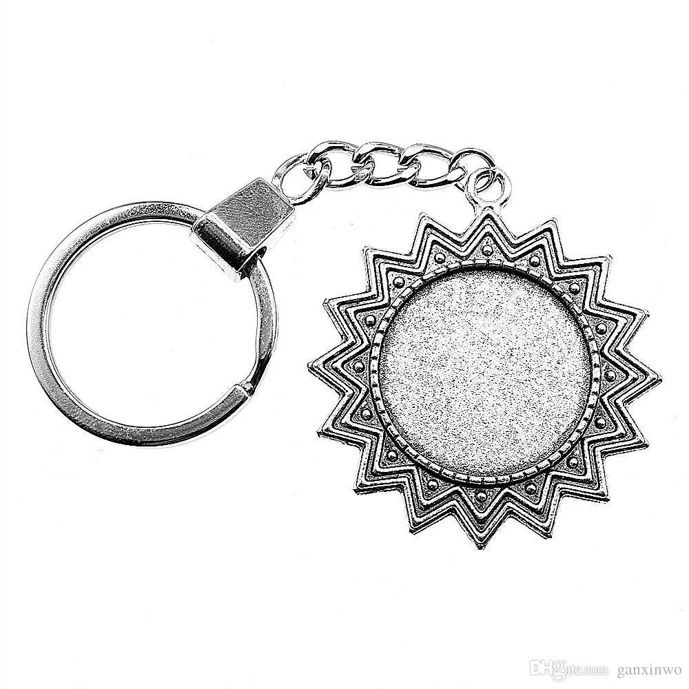 6 Pieces Key Chain Женщины Кольца для ключей автомобиля брелок для ключей ВС Односторонний Внутренний диаметр 25мм круглый кабошон Камеи поддоном ободок Blank
