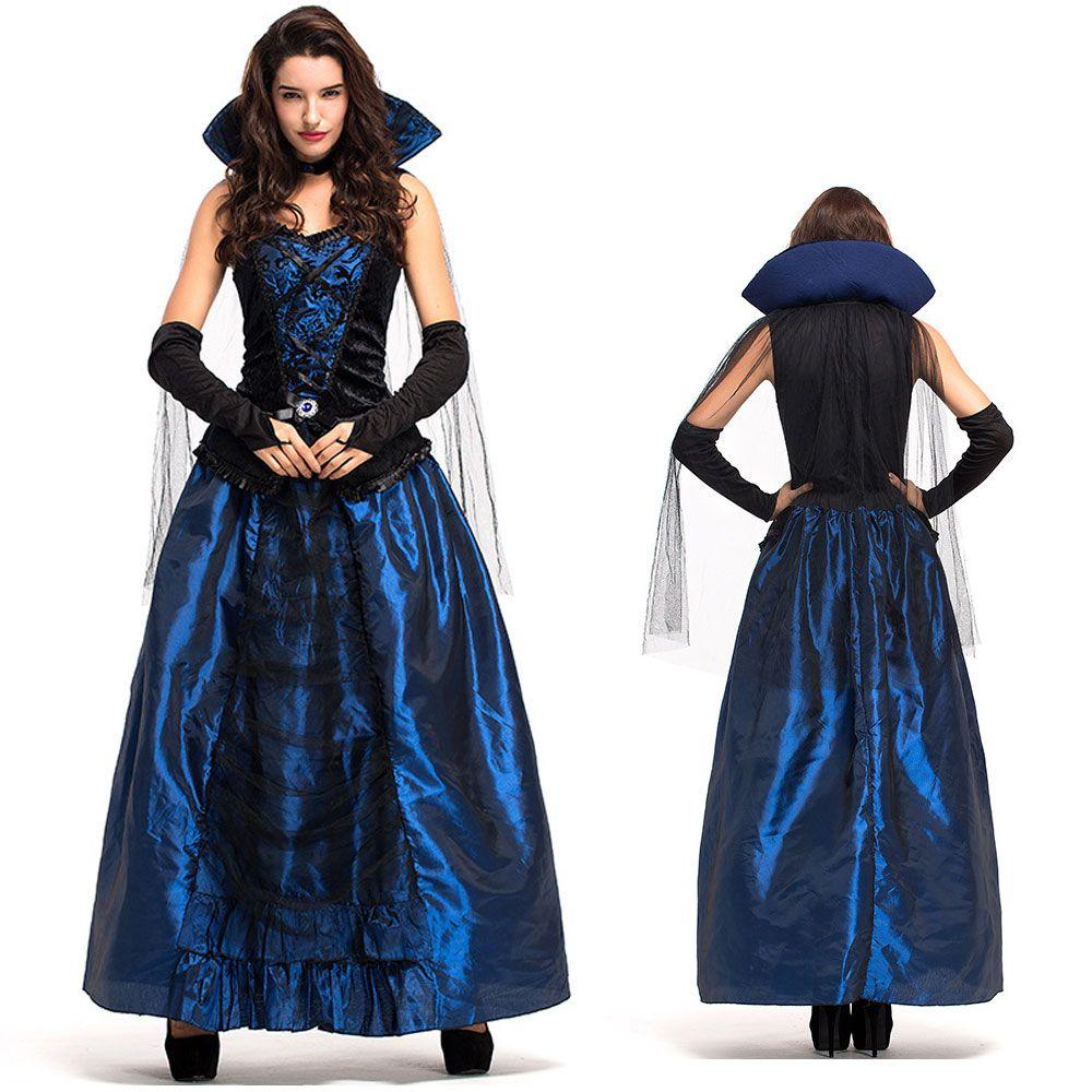 großhandel sexy dessous blaue königin gräfin prinzessin langes kleid damen  halloween kostüm 6863 von yoyo888, 27,57 € auf de.dhgate | dhgate