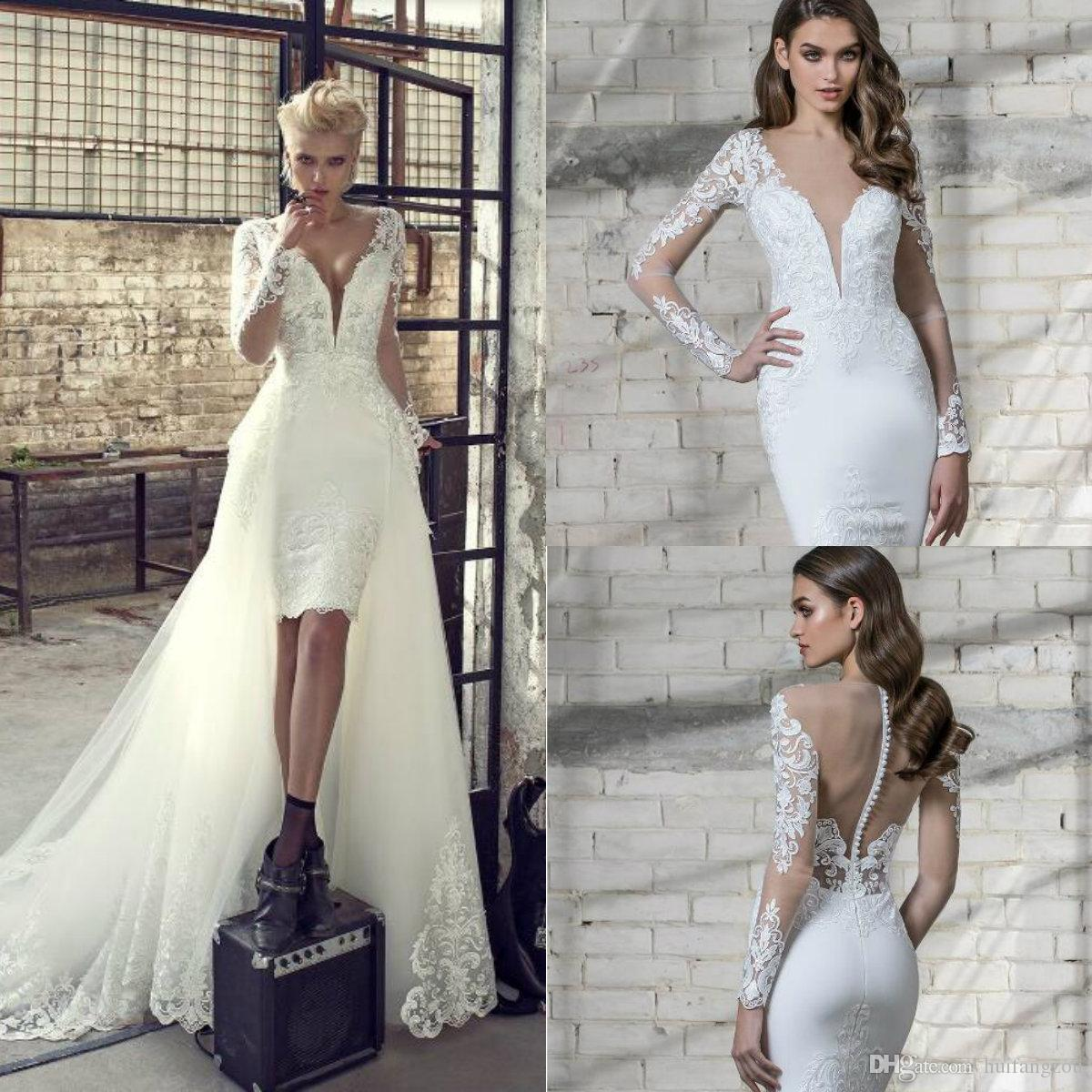 Modest Short Wedding Dress Pnina Tornai 2019 Spring Long Sleeve Sheer V Neck Lace Applique Buttons Back Bridal Gowns With Detachable Train
