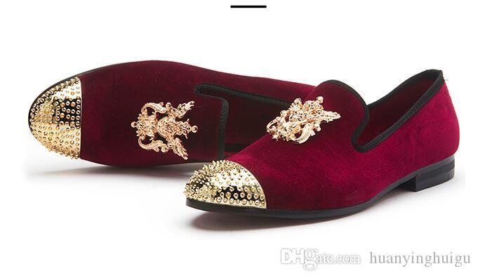 2020 Hot Style orteil en métal or boucle brillante design de mode Italie Hommes véritables chaussures en cuir hommes occasionnels appartements de soirée de mariage hommes Mocassins N33