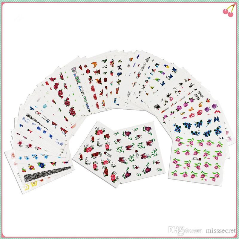 50 Blatt Nail Sticker Mixed Designs Wassertransfer Nail Art Sticker Wasserzeichen Decals DIY Nail Decoration für Beauty Nails Tools