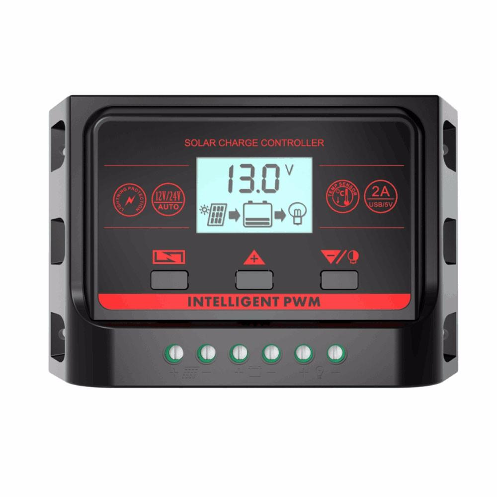 PWM 12V 24V 10A 20A 30A подсветка солнечный контроллер с USB 5V свет и таймер управления ЖК-панель солнечных батарей регулятор заряда батареи CE