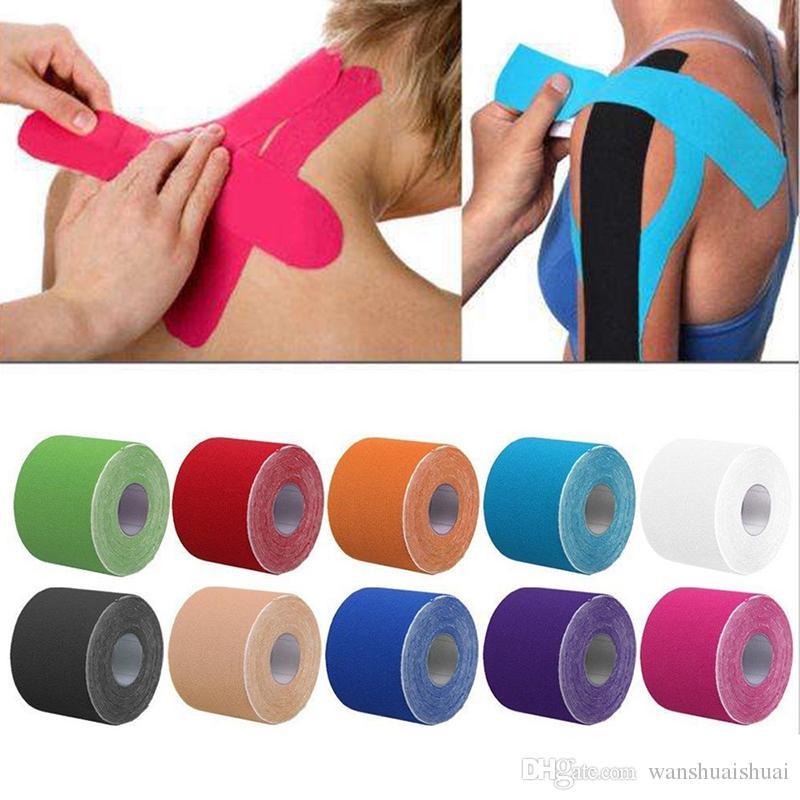 5 cm * 5 m Bandage élastique Coton Adhésif Kinesio Bande Sport Blessure Muscle Protection Contrainte Kinesiologie Bandes Rubanage Kinesio