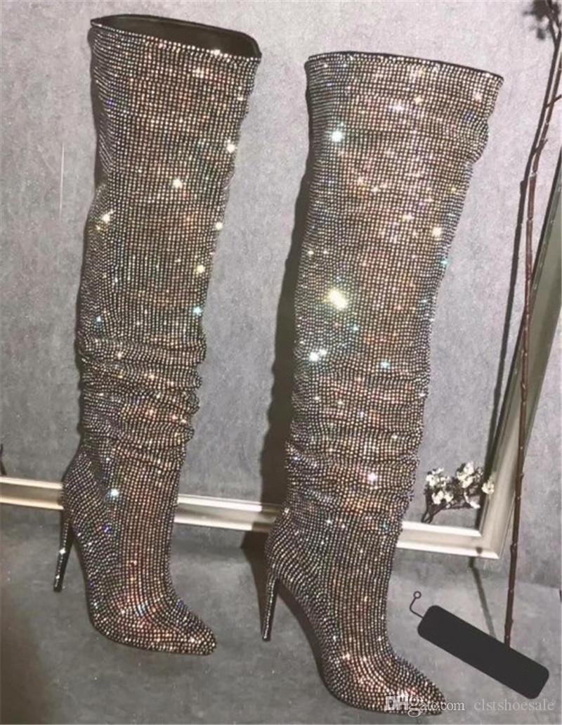 Mulheres Sexy Magro Estilo Rhinestone Ao longo do joelho Fina Heel Botas Charming Pointed Toe cristal longo salto alto Botas Vestido de Noiva Sapatos
