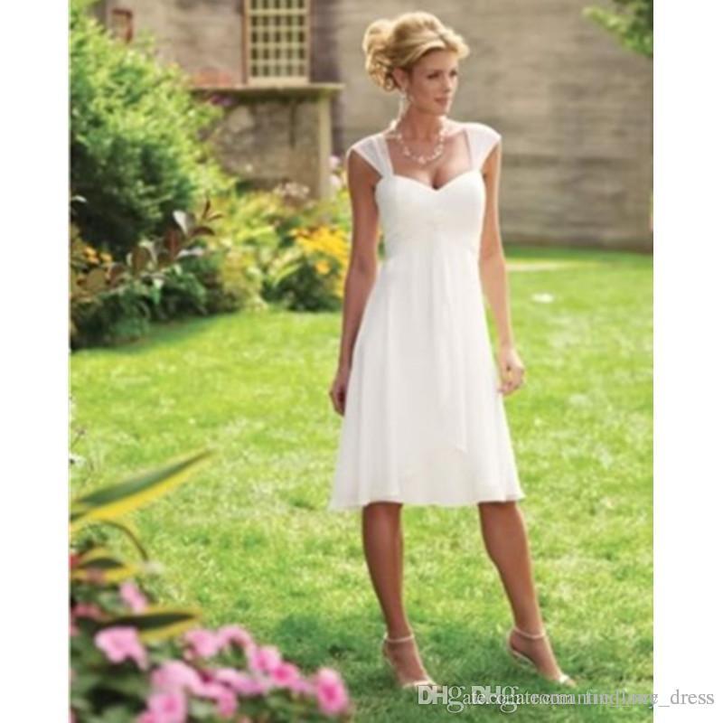 Cheap Short Beach Wedding Dresses Summer Style Simple Pleats Cap Sleeve A-Line Knee Length Chiffon Bridal Gowns Custom Made Hot Selling W003
