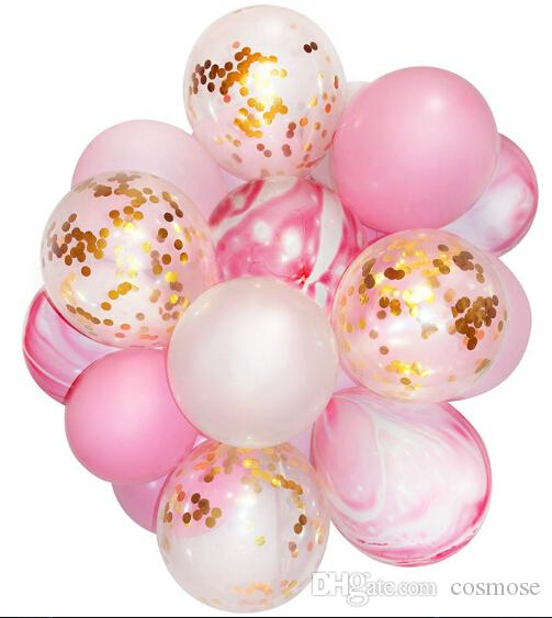 Marble Confetti Balloon Pink and Gold Party Decoration for Wedding Birthday Gender Reveal Party Photobooth