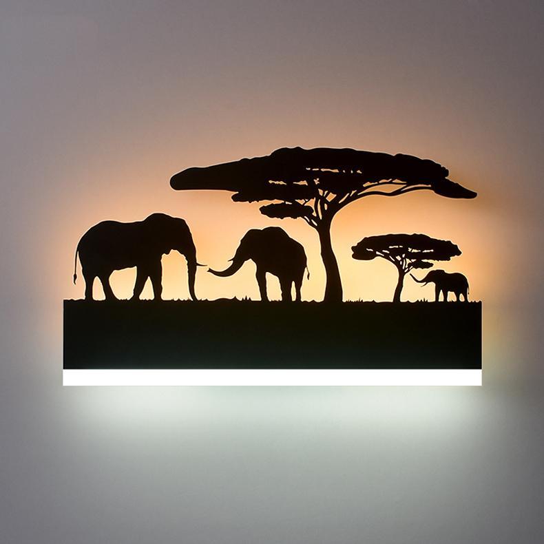 Nuove lampade da parete a LED Lampade acriliche Lampada da letto camera da letto ufficio soggiorno letto luce alluminio auto elefante amante elk creatività