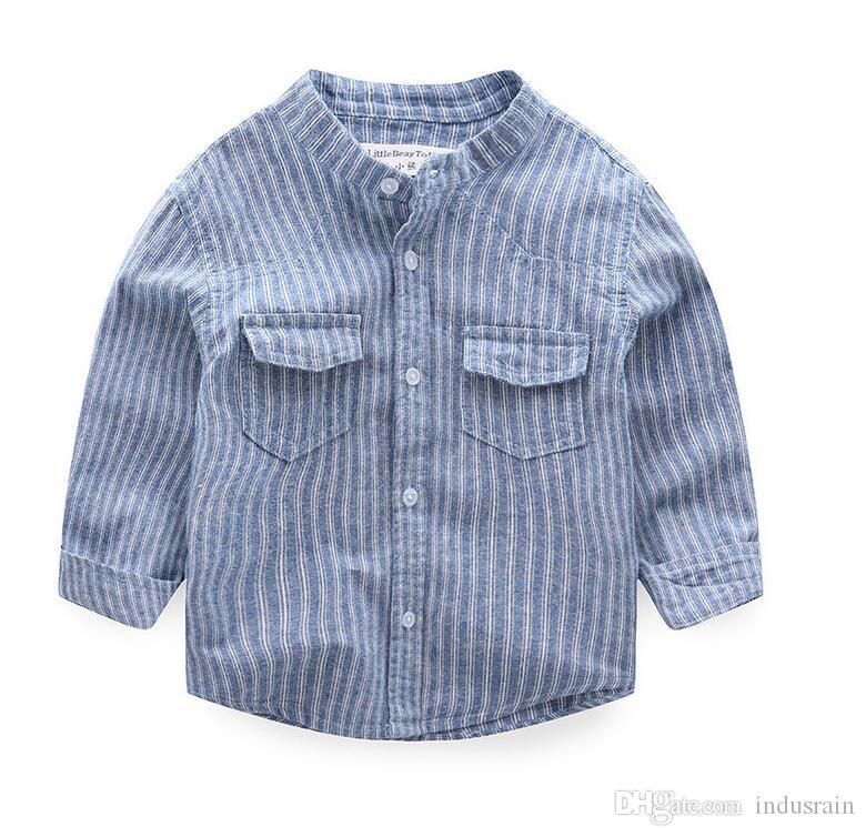 Детская одежда School Boys Top 2018 Хлопок для мальчиков Блузка Джентльмены Рубашка Для Принца Мальчики Модная рубашка Детская одежда S13