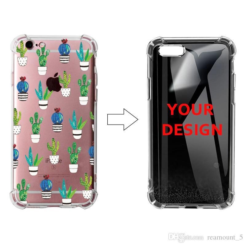 Farbe druckte personifizierten Foto-transparenten Luftsack-Kasten für iPhone 9 XS XS plus weicher TPU schützender Stoßschutzhandyfall mit vier Winkeln