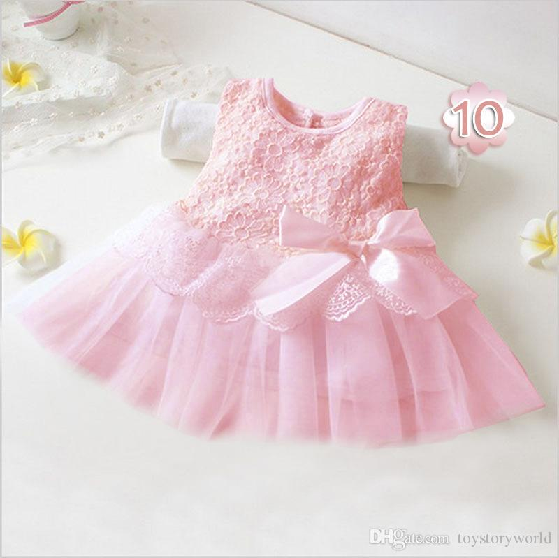 Wholesale new fashion summer new girl baby child baby princess mesh sleeveless bow small size dress 12 colors hot sale for free shipping