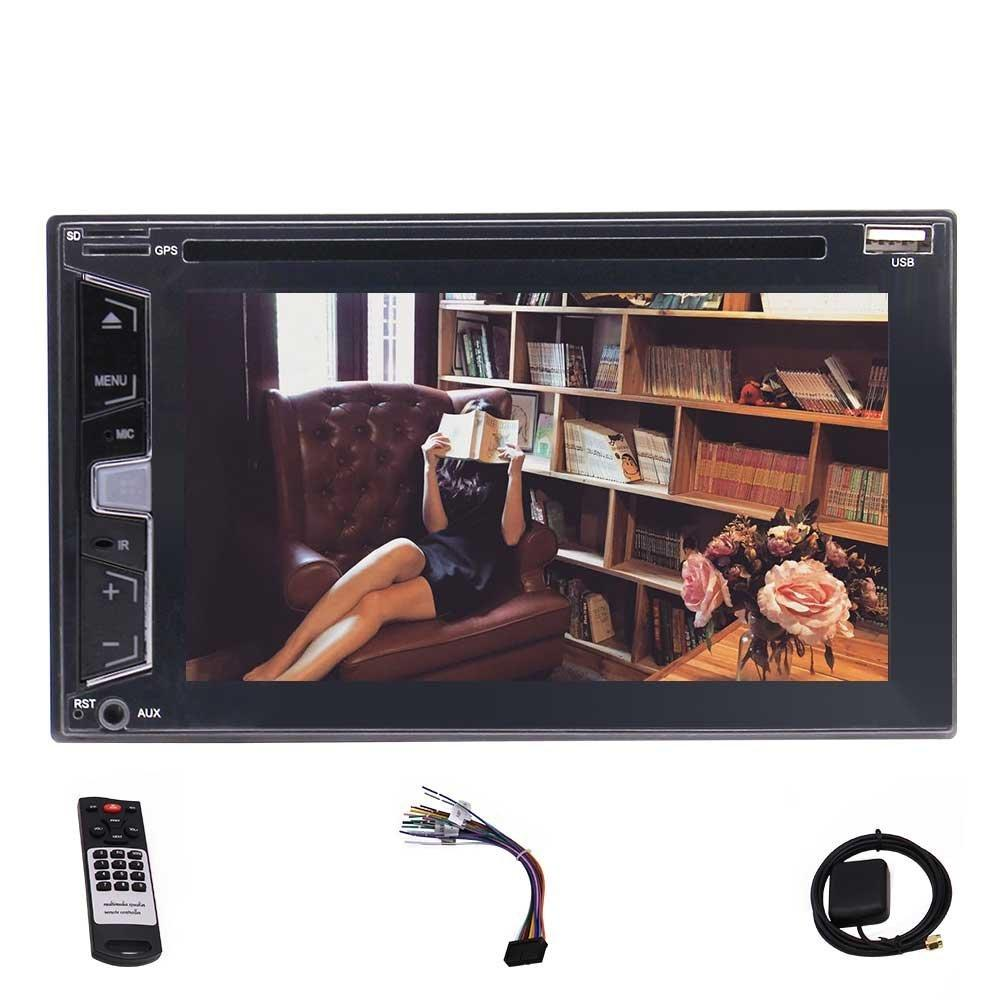 Eincar 6.2'' Double Din Car Stereo car DVD Player Headunit Autoradio 1080p screen GPS Navigation Bluetooth USB/AM FM RDS Rear Camera