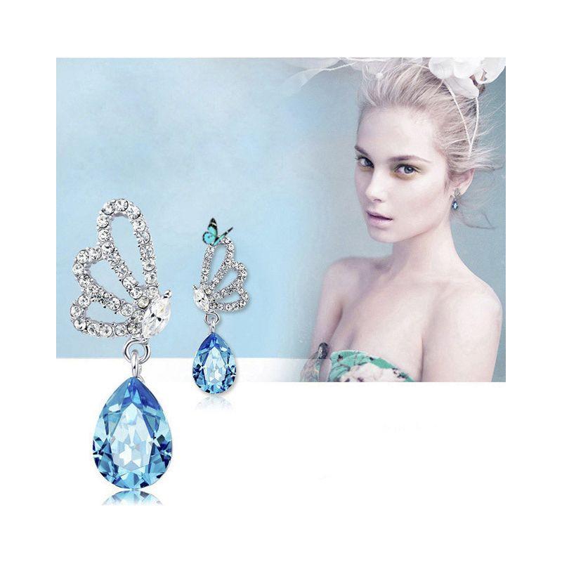 Women Butterfly Teardrop Stud Charm Earrings Rhinestone Crystal Silver Alloy Girl Lady Noble Shiny Eardrop Retail Wholesale Lots (TM025)