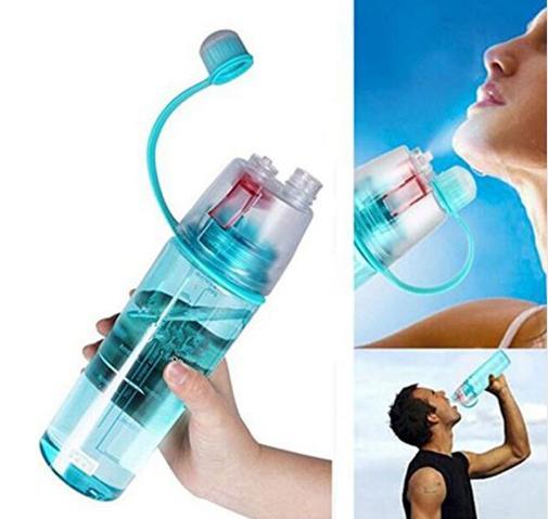 Garrafa de água criativa do pulverizador da garrafa de água dos esportes 600ml garrafa plástica simples e à moda