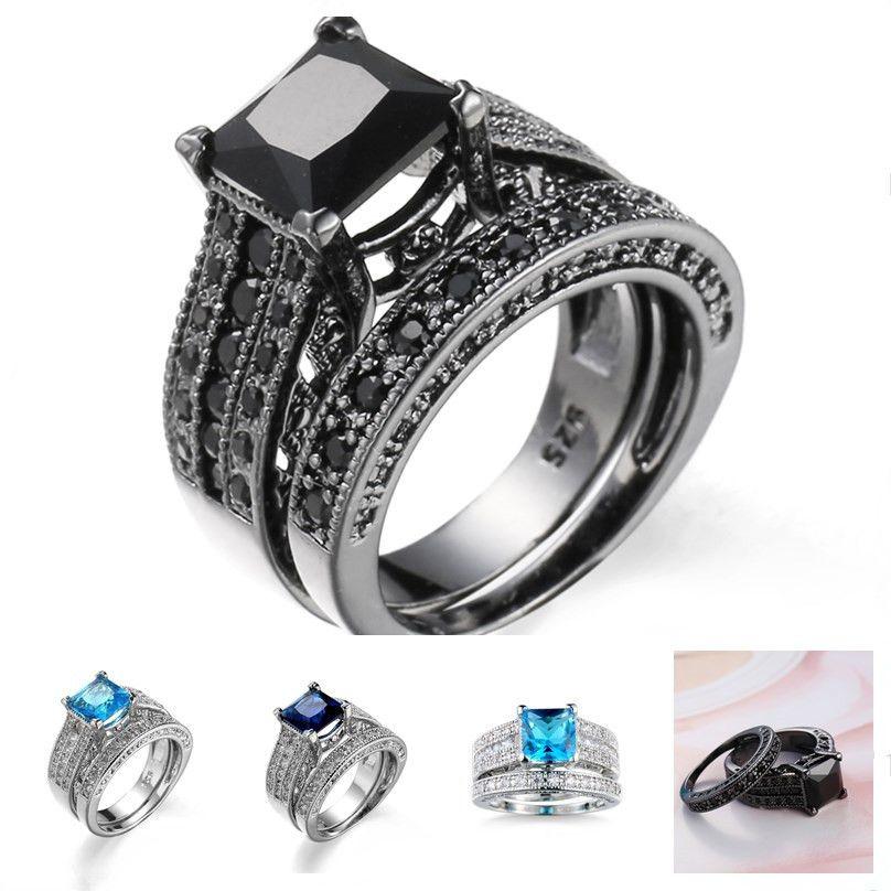 2020 Black Diamond Aquamarine Engagement Rings Vintage Wedding Rings Creative Fashion Zircon Princess Cut Ring Ladies Hand Custom From Jonely 2 89 Dhgate Com
