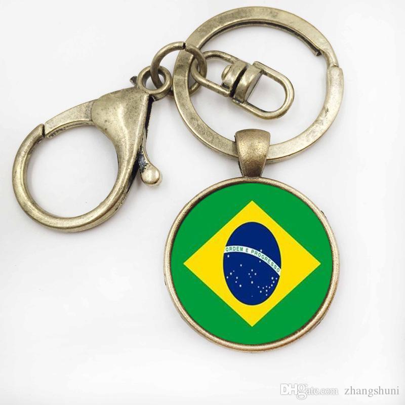 Charme Da Bandeira Da Arte Da Foto Keychain BrazilBelarus Homens Da Bandeira do Anel Chave Do Carro de Jóias Cabochão De Vidro Das Mulheres saco chaveiro