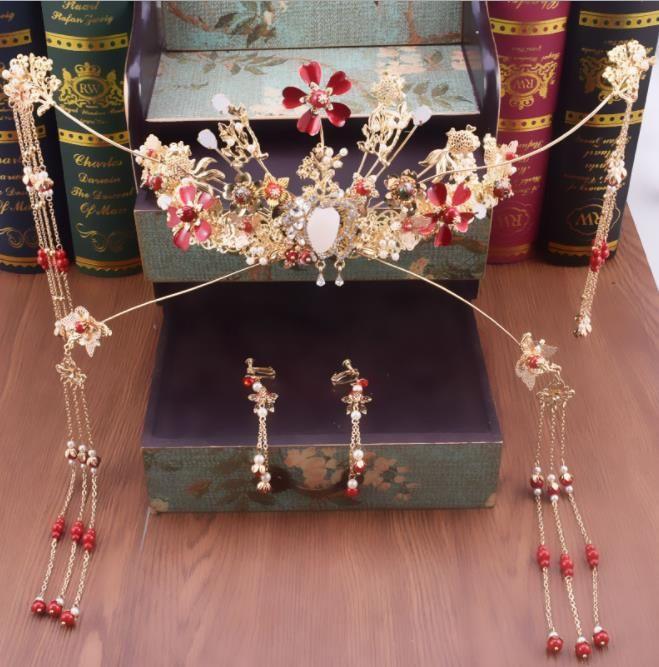Gelin headdress, yeni moda gösterisi, antik kostüm aksesuarları seti, Çin antik Phoenix taç gösterisi, tahıl ve giyim aksesuarları.