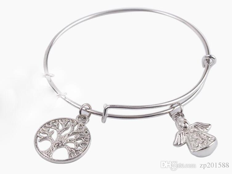 38 Silver Tone Expandable I Love You More Tree of Life Plus Charms Bangle New
