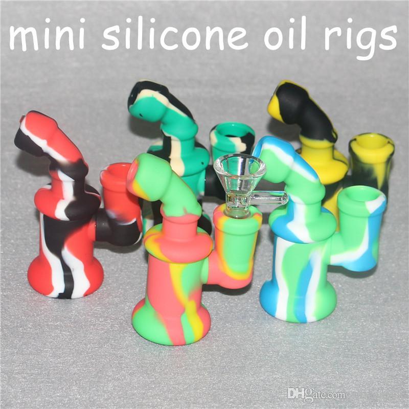 Mini Silicone Borbulhador Rig tubo de fumar silicone Tubo De Colher Mão Hookah Bongos óleo de silicone dab rigs com bacia de vidro tubos de mão de silicone